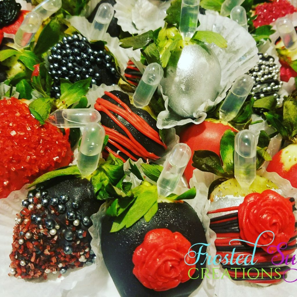 Black and red strawberries